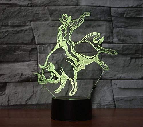 Luz nocturna 3D ilusión Lámpara De Ilusión Jinete cornudo Decoración Del Hogar Regalo De Cumpleaños Para Niños Habitación De Niños Con interfaz USB, cambio de color colorido
