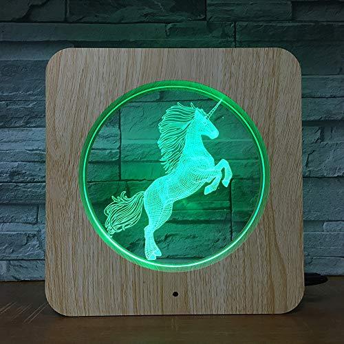 Pegasus Creativo Led Luz Visual Patrón Cuadrado De Madera Pony Luz Led Luz Nocturna Marco De Grano De Madera Luz