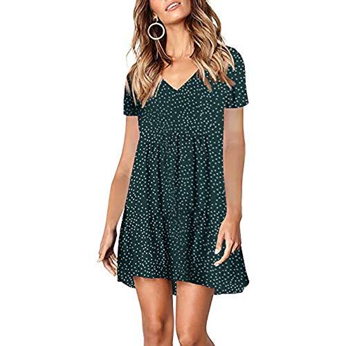 KAIXLIONLY Women's Summer Casual Polka Dot Dress Short Sleeve Solid Color Chiffon High Waist Swing Mini Dress Sundress Green