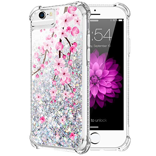 Caka iPhone 6S Plus Case, Flowing Liquid Floating Luxury Bling Glitter Sparkle Soft TPU Case for iPhone 6 Plus 6S Plus 7 Plus 8 Plus (5.5 inch) (Cherry)