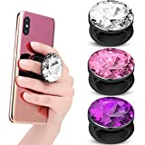 3 Pieces Plastic Disco Crystal Phone Grip Holder Expanding Finger Stand Holder Collapsible Phone Kickstand Adhesive Foldable Phone Socket for Smartphone and Tablets (Silver, Purple, Pink)