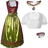 dressforfun 950023 Damen Trachtenset, 3 teilig, Rot Goldenes Langes Dirndl + weiße Trachtenbluse mit Armband und Halskette   Diverse Größen (Dirndl XXL | Bluse XXL | Nr. 350202)
