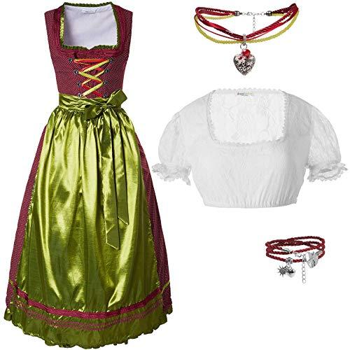 dressforfun 950023 Damen Trachtenset, 3-teilig, Rot Goldenes Langes Dirndl + weiße Trachtenbluse mit Armband und Halskette - Diverse Größen (Dirndl L | Bluse L | Nr. 350200)