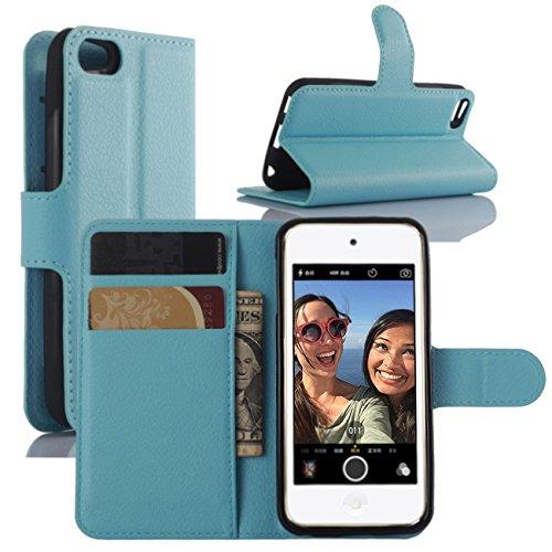 HualuBro iPod Touch 5/6 / 5G / 6G Hülle, Premium PU Leder Leather Wallet HandyHülle Tasche Schutzhülle Flip Case Cover mit Karten Slot für Apple iPod Touch 5/6 Generation (Blau)