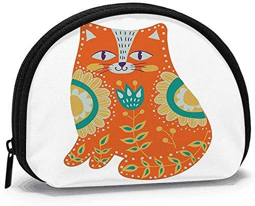 Arte Acuarela Hermoso Gato Animal Monedero Cambio Efectivo Bolsa Cremallera Monedero pequeño Monedero cosmético Bolsa de Almacenamiento