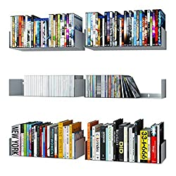 in budget affordable Wall furniture U-shaped bookshelf Wall metal CD DVD storage rack White 6 pieces