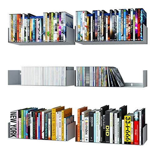 Wallniture Bali White Floating Shelves for Wall, CD DVD Storage Shelves and Metal Bookshelf Set of 6