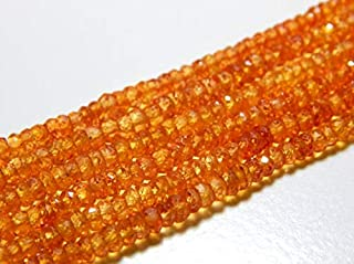 """Jewel Beads Natural Beautiful jewellery Orange Sapphire Faceted Rondelle Beads 100 Percent Natural Gemstone Size 3.6x2.4 mm 8"""" Inches Strand.Code:- BB-16727"""