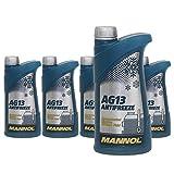 MANNOL 5 x 1000ml AG13 Antifreeze (Hightec) Frostschutz Konzentrat Blau