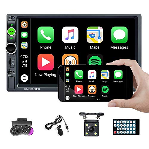 Hodozzy Car Play Double Din Car Stereo 7'' Touch Screen Bluetooth Car Radio 2 Din Car Audio Indash Head Unit Support Subwoofer Mirror Link FM AUX/TF/USB/SWC + Backup Camera + Mic + Remote Control