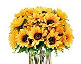 Artificial Sunflower Bouquet,12 Inch Fake Sunflowers Silk Sunflowers Yellow Flowers for Home Office Parties Wedding Decoration (2)