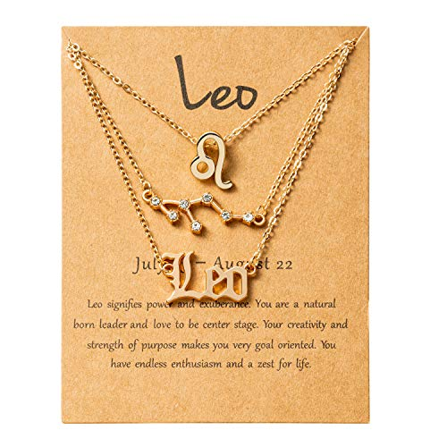 PANTIDE 3Pcs Leo Zodiac Layer Necklaces for Women Retro Gold Plated 12...
