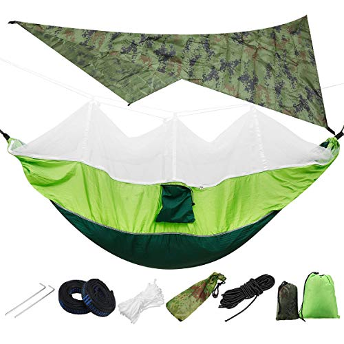 Outdoor Hammock Lightweight Portable Camping Hammock And Tent Awning Rain Fly Tarp Waterproof Mosquito Net Hammock Canopy Load 300KG For Garden Yard Camping (Size:Onesize; Color:1)