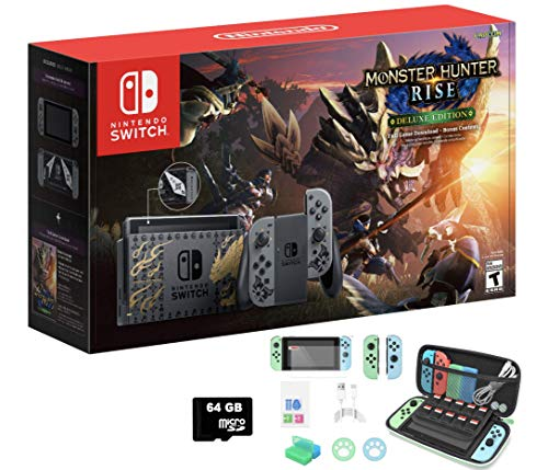 """2021 Newest Nintendo Switch Monster Hunter Rise Special Edition 32GB Console - 6.2"""" Touchscreen LCD Screen, Monster Hunter Rise + Deluxe Kit DLC + MarXsol 13-in-1 including 64GB SD Card Holiday Bundle"""