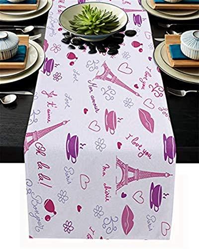 Camino de mesa del día de San Valentín,camino de mesa de comedor de la Torre Eiffel del día de San Valentín y labios sexuales para banquete,fiesta,hogar,cocina,cena,decoración de mesa,13 x 70 In