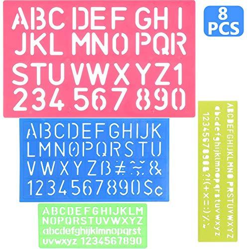 8 Piezas Plantilla de Letras, BESTZY Plantilla de Alfabeto Plantillas de Dibujo de Plástico Conjunto para Niños, Dibujo Plantilla Stencil para Niños Aprender Viaje Regalo