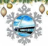 Ireland Samuel Beckett Bridge Dublin Christmas Xmas Tree Snowflakes Metal Ornaments Hanging Ornaments. FEATURE--Made of Metal,handmade Christmas ornaments. DIMENSION--3 inch diameter.Round diameter 2 inches. SOUVENIR--Meaningful city travel souvenir,...
