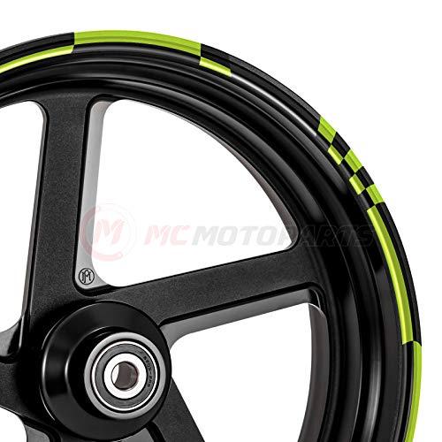 MC Motoparts Felgenaufkleber für Kawasaki Aprilia Yamaha MCWSACHECK01BKGR17-AM001