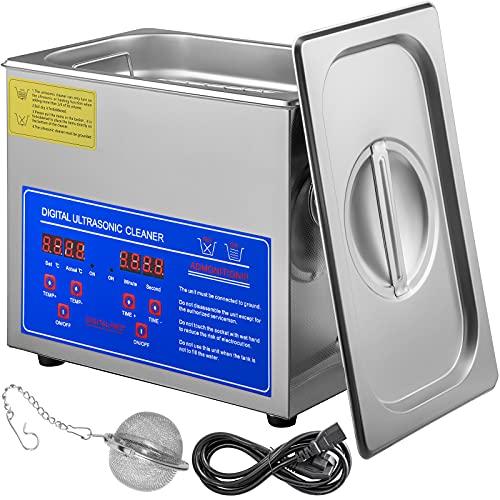 Moh 3L Limpiador ultrasónico, Limpiador Ultrasonidos Profesional, Máquina de Ultrasonido con Temporizador Digital, Temperatura Ajustable, para Limpieza de Joyas, Gafas, Relojes, Laboratorio, etc.
