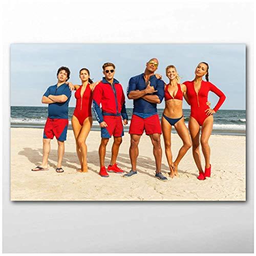 wzgsffs Baywatch Beach Bikini Film Wandkunst Poster Leinwanddrucke Kunstwerke Gemälde für Wohnzimmer Wohnzimmer Wohnkultur -24x36 Zoll (60x90cm)