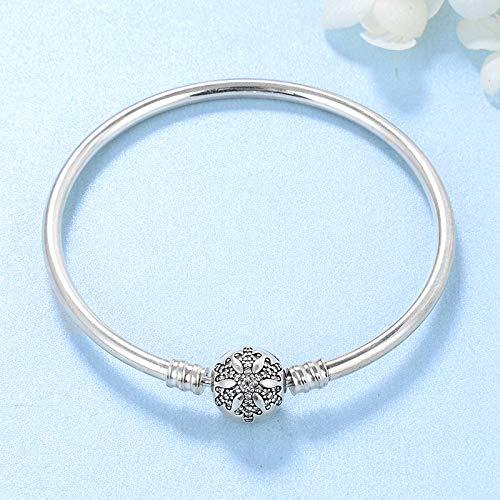 DASFF 925 Sterling Silber Charm Zirkon Schneeflocke Perlen Armband Armreifen DIY für Modeschmuck Damen Accessoires Trendy 17cm