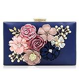 Milisente flor bolsa de noche mujer bolso de boda elegante embrague (Azul)