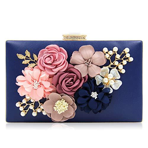 Milisente Evening Bag for Women, Flower Wedding Evening Clutch Purse Bride Floral Clutch Bag(Navy Blue)