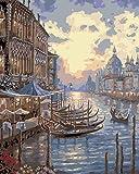 YUHHGFK Pintar por Numeros Adultos Puesta de Sol de Venecia Pintura al óleo de DIY por Números con Pinceles y Pinturas para Adultos y Niños Decoraciones para el Hogar- 40 x 50 cm (Sin Marco)