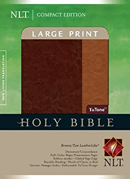 Compact Edition Bible NLT Large Print TuTone  Red Letter LeatherLike Brown/Tan Indexed