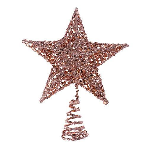 BinaryABC Christmas Tree Topper Star,Glittering Christmas Tree Decoration Ornaments,20cm (Rose Gold)