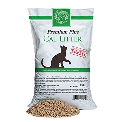 Small Pet Select Premium Pine Pelleted Cat Litter 25lb, Brown (Pine Pellet Litter)