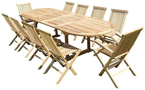 Ensemble de Jardin en Teck Premium Nayan 8 chaises 2 fauteuils Jenae