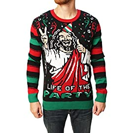 """Ugly Christmas Sweater Men's Jesus B-Day Sweater 1 Pullover crew-neck sweater featuring Fair Isle patterning on front bodice and """"BIRTHDAY BOY"""" message set beneath Jesus design Solid sleeves and back Contrast ribbed-knit neck, cuffs, and hemline"""