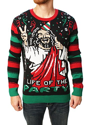 "Ugly Christmas Sweater Men's Jesus B-Day Sweater 1 Pullover crew-neck sweater featuring Fair Isle patterning on front bodice and ""BIRTHDAY BOY"" message set beneath Jesus design Solid sleeves and back Contrast ribbed-knit neck, cuffs, and hemline"