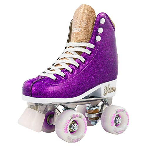Crazy Skates Glam Roller Skates for Women and Girls - Dazzling Glitter Sparkle Quad Skates - Purple with Gold (Size 6)