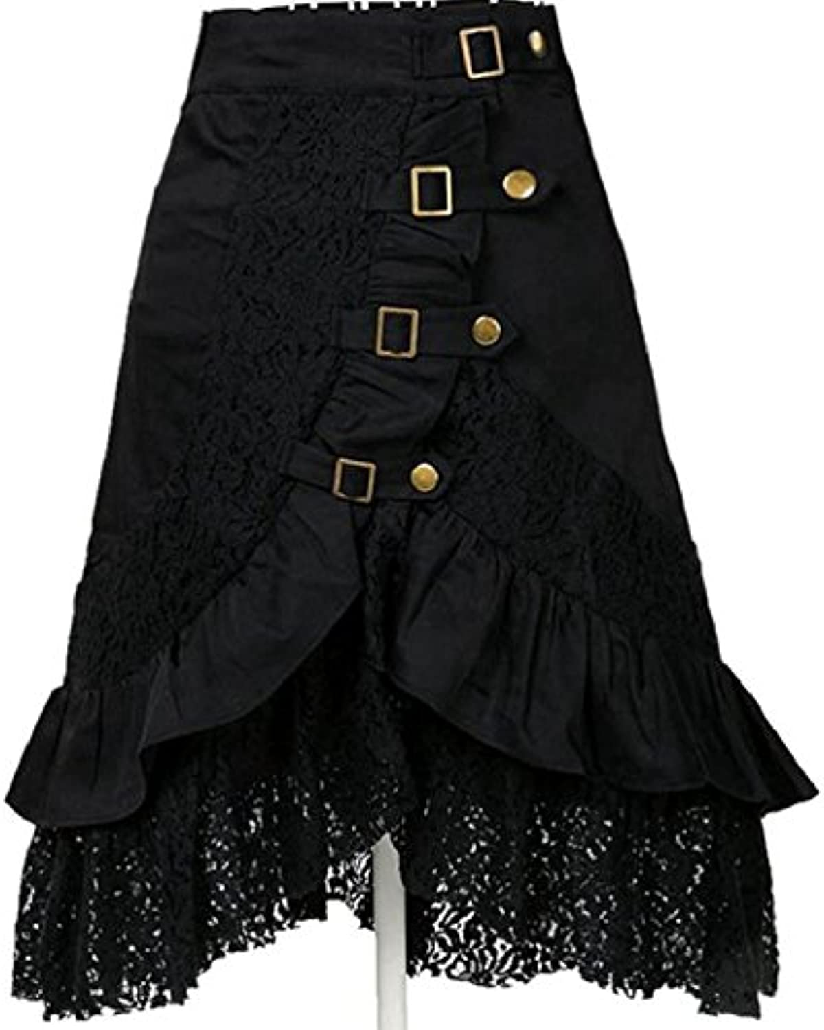 XIURONG Black Dresses with Black Lace and Half Dress