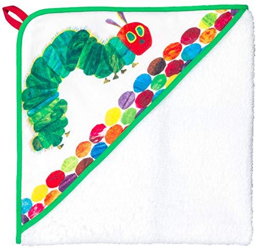 Smithy® Kinder-Kapuzenhandtuch aus 100% Bio-Baumwolle – Schadstofffrei und ÖkoTex zertifiziertes Babyhandtuch – weiß mit Original Raupe Nimmersatt – Größe 100 cm x 100 cm