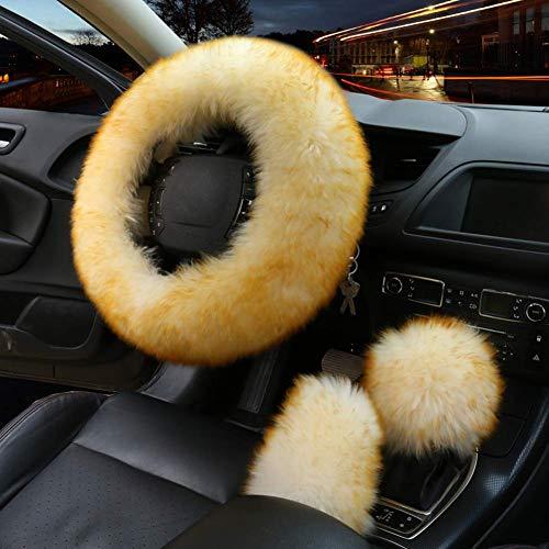 Frfjy 3Pcs Satz Mode Lenkrad Bezüge Winter Warm Plüsch Weich Wolle Handbremse Abdeckung Gangschaltung Abdeckung Auto Zubehör - Gold Spitze, as shown