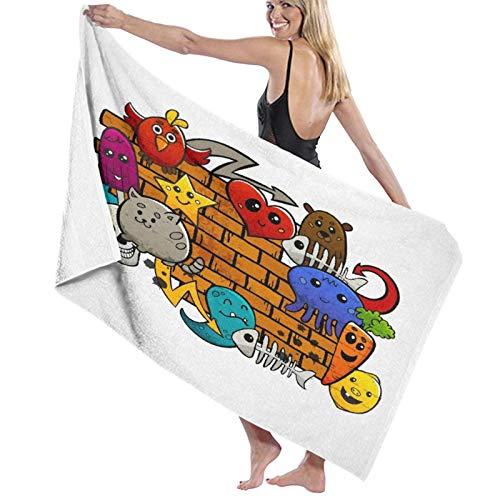 SUDISSKM Toalla de Playa de Playa de Microfibra Grande,Graffiti dibujos animados lindo animales estrellas peces calaveras gato pájaro figuras en pared de ladrillo,Toalla de Baño Suave de Secado Rápido