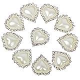 10pcs Brillantes Botones Adornados con Perlas y Cristales Artificiales de Color Plateado y Beige