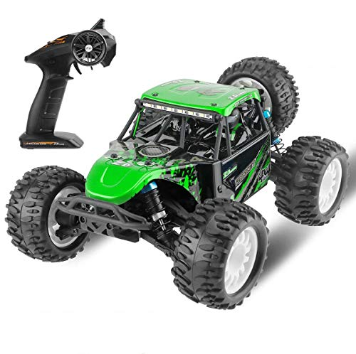1:16 Scale RC Car 4WD Off Road Vehicle 2.4GHz Radio Remote Control Car High Speed Racing Brushed Desert Truck with Rechargeable Battery for Kids and Adults Green