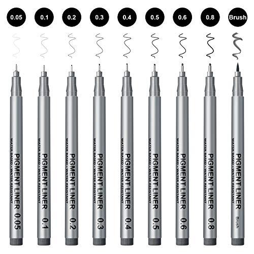 APOGO 製図ペン サインペン 9本セット 漫画用ペン 防水 ニードルペン 黒インク 線径0.05-1.0㎜, スケッチ、漫画、芸術家のイラスト、技術製図、スクラップブックなどに適用されます