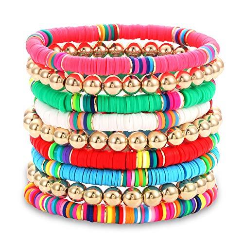 Heishi Bracelet Set For Woman Girls Stackable Ball Beaded Multicolor African Vinyl Stretch Bracelet Minimalist Beach Surfer Bracelet Jewelry (A)