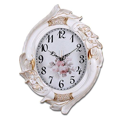 Clock Horloges murales ovales, salon maison horloges chambre muette horloge murale horloges à quartz horloge stéréo fleur horloges chiffres arabes (Couleur : Blanc, taille : 66 * 50cm)