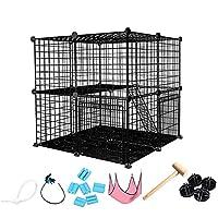 猫のケージの家庭用プラスチック犬のフェンス猫二重層犬の檻の猫フェンスアンチジャンプキャットフェンス屋内ペットフェンス (ブラック,大二層)