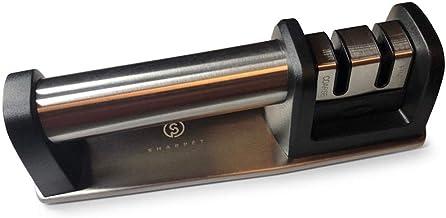 SHARPÉT Knife Sharpener - Best Manual Knife Sharpener for Razor Sharp Kitchen Knives, Safe, Hygienic Stainless Steel with ...