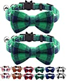 Quick Release Cat Collar with Bell and Bow Tie, Cute <span class='highlight'>Plaid</span> Patterns, 2 Pack Kitty Safety Collars (<span class='highlight'>green</span>)