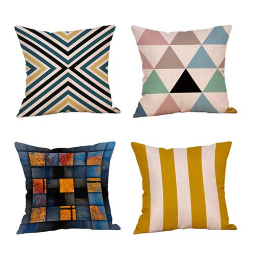 Decorative Throw Pillow Covers for Couch, Sofa, or Bed Set of 4 18 x 18 inch Modern Quality Design 100% Cotton Orange Yellow Black White