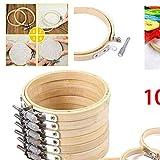 10 unids/set DIY punto de cruz aro bordado círculo aro de bambú cruz aro anillo soporte hogar herramientas de costura 8 / 10cm opcional, China, 10 piezas 10 cm
