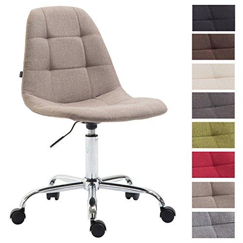 CLP Bürostuhl Reims mit Stoffbezug | Schreibtischstuhl mit gestepptem Sitz | Höhenverstellbarer Arbeitsstuhl mit Metallgestell erhältlich Taupe